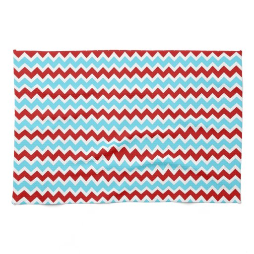 Turquoise Kitchen Towels: Cool Trendy Teal Turquoise Red Chevron Zigzags Kitchen