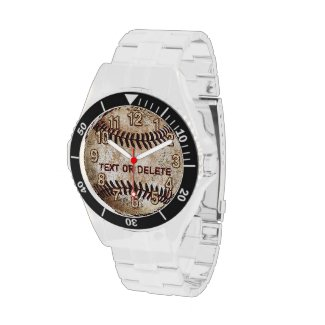 Cool Vintage Baseball Watch YOUR TEXT or Delete it