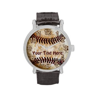 Cool Vintage Baseball Watches with YOUR TEXT