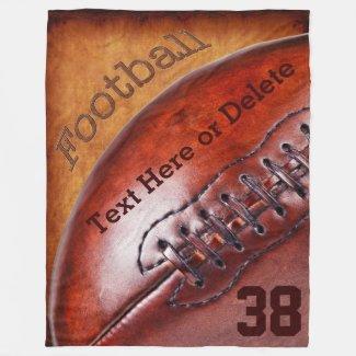 Cool Vintage Football Throw Blanket PERSONALIZED Fleece Blanket