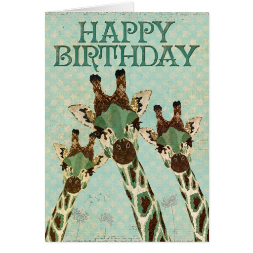 Copper & Teal Giraffes Stars Happy Birthday Card