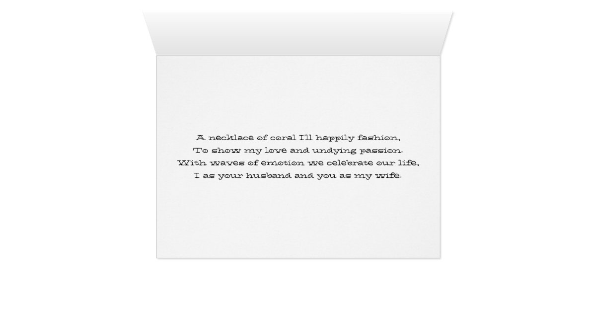 Coral Gifts 35th Wedding Anniversary: Coral 35th Year Wedding Anniversary Gift Card