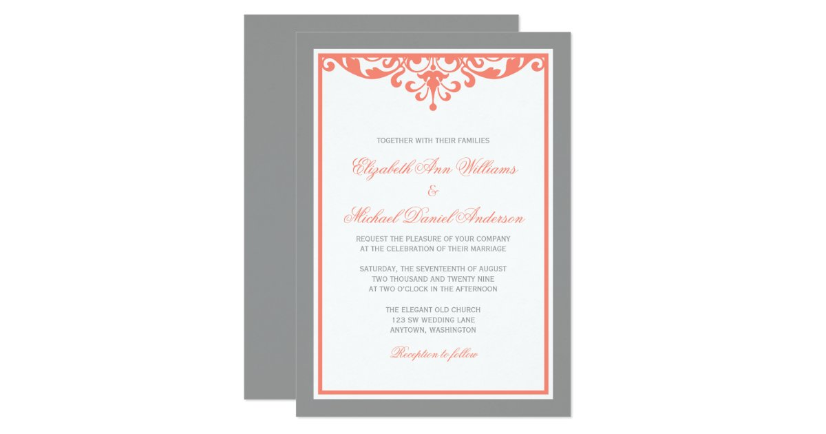 Flourish Wedding Invitations: Coral And Gray Flourish Wedding Invitations