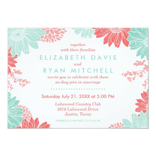 Coral And Mint Wedding Invitations: Coral And Mint Modern Floral Wedding Invitation