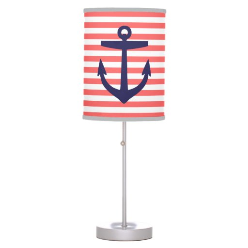 Coral and Navy Nautical Stripes and Anchor Table Lamp | Zazzle