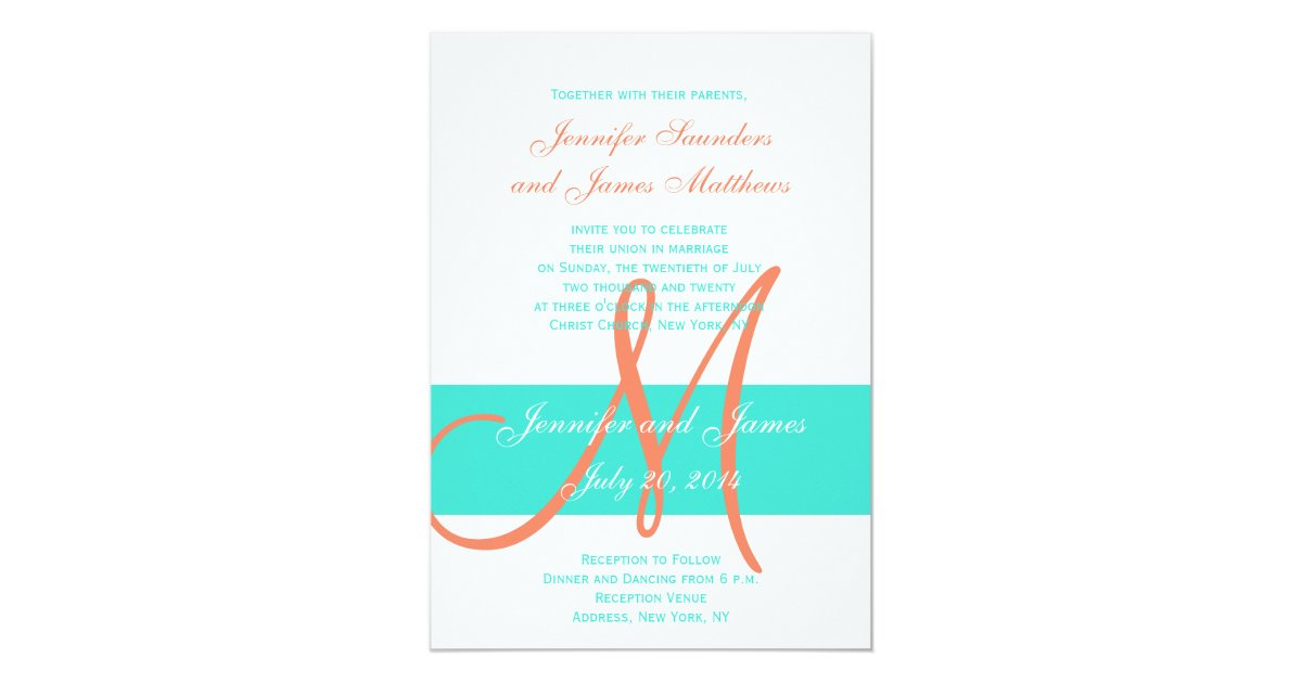 Turquoise And Coral Wedding Invitations: Coral And Turquoise Modern Wedding Invitation