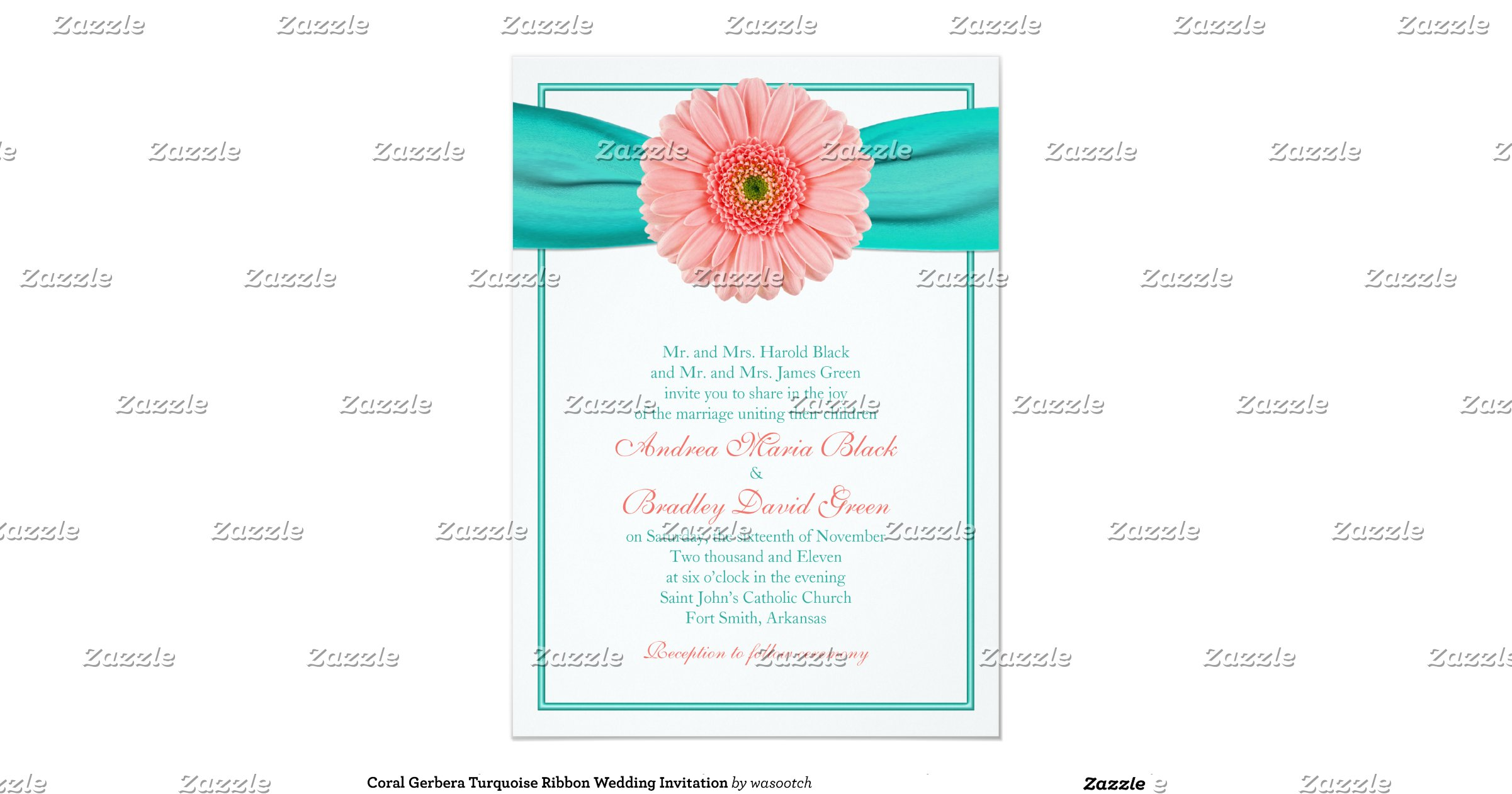 Turquoise And Coral Wedding Invitations: Coral_gerbera_turquoise_ribbon_wedding_invitation