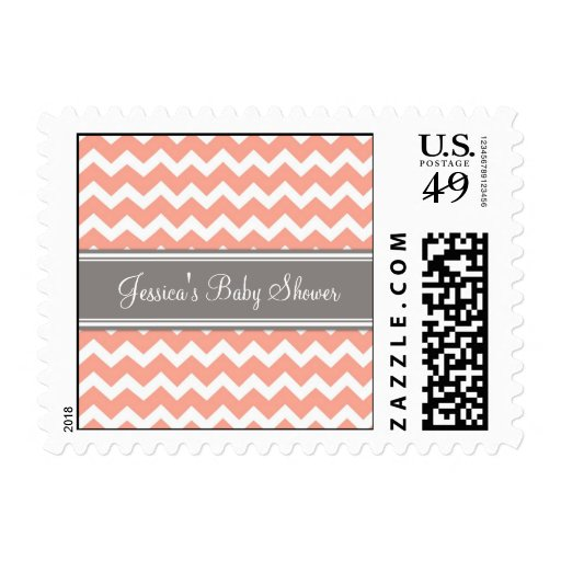 How To Coral Gray Chevron Custom Baby Shower Stamps Cute