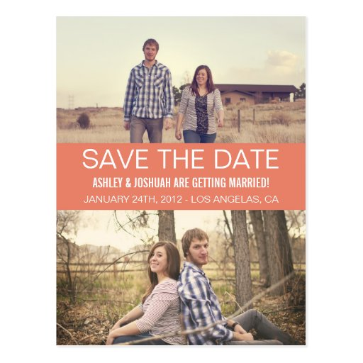 Coral Modern Photo Save The Date Post Cards