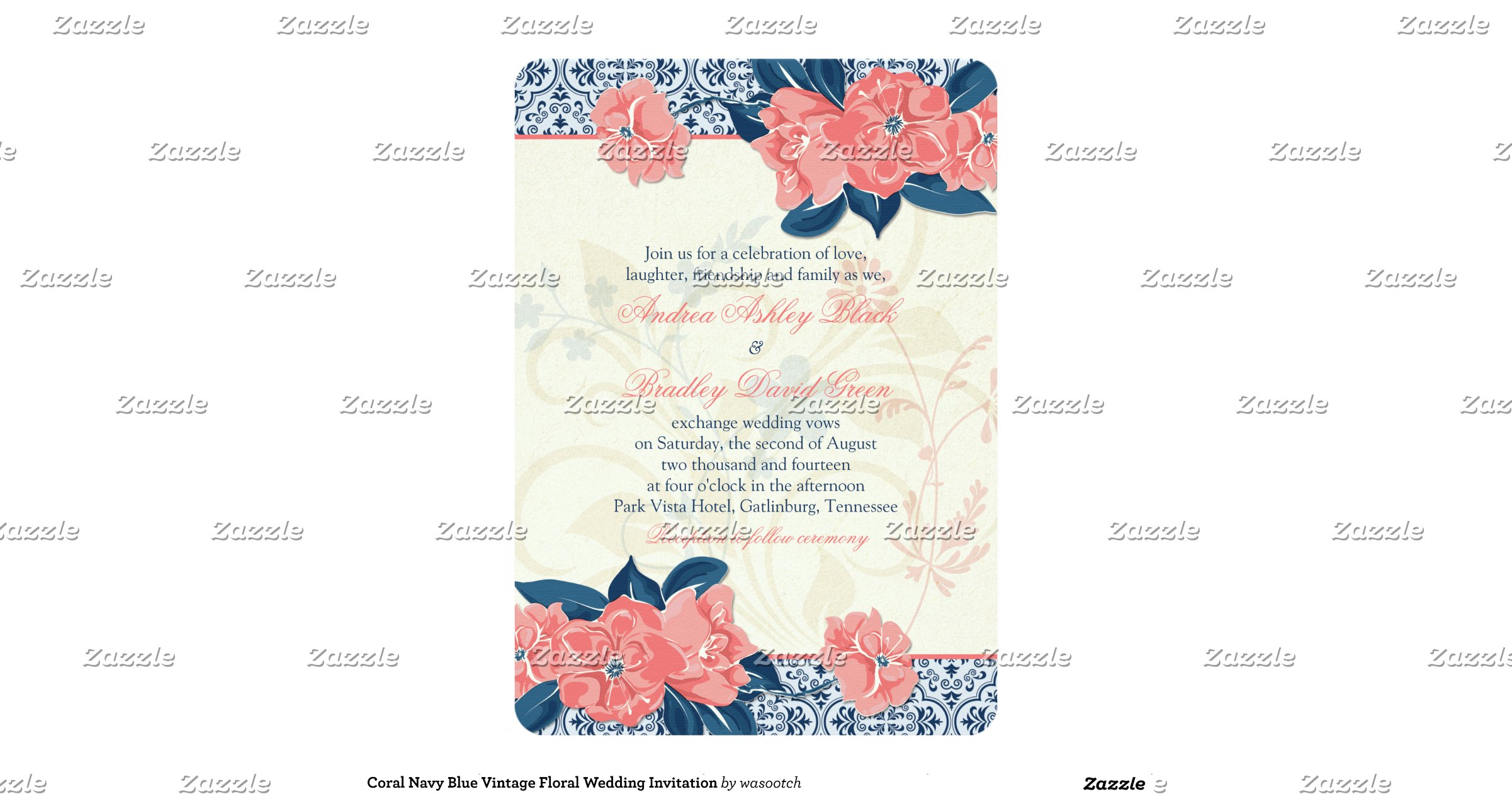 Blue And Coral Wedding Invitations: Coral_navy_blue_vintage_floral_wedding_invitation