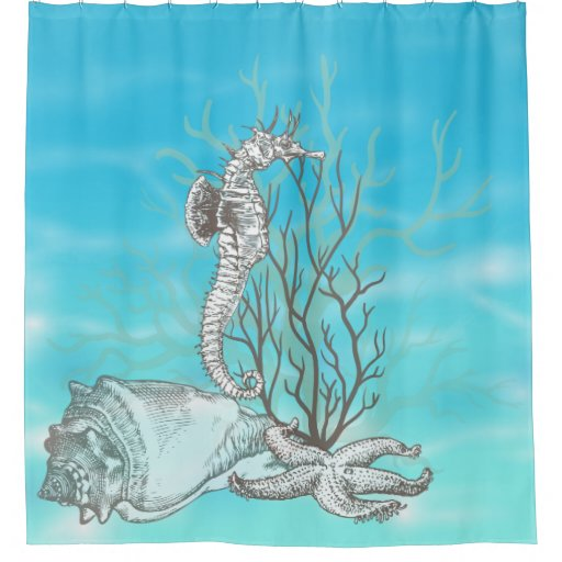 Coral Seahorse Starfish Ocean Decor Shower Curtain