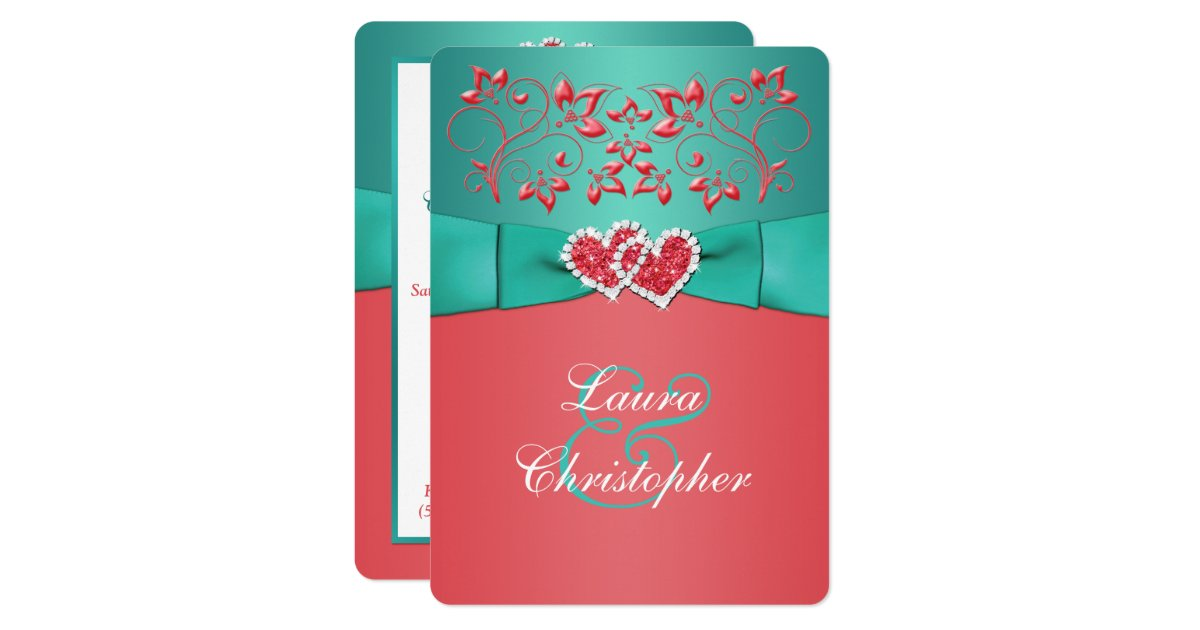 Coral And Teal Wedding Invitations: Coral Teal Floral Joined Hearts Wedding Invitation