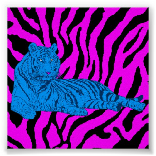 Corey Tiger 80s Retro Lounge Tiger Poster
