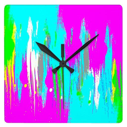 Corey Tiger 80s Retro Neon Splatter Paint Clocks Zazzle