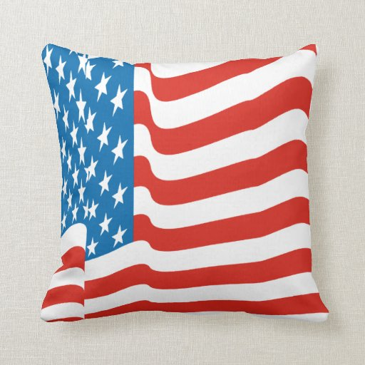 Corey Tiger 80s Vintage Waving US American Flag Pillow ...
