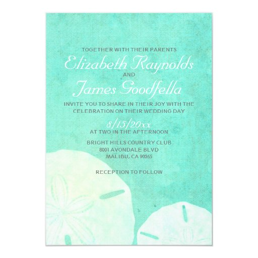 Country Burlap Sand Dollar Wedding Invitations