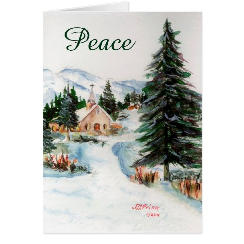 Country Church in Winter Watercolor Mountain Scene Greeting Card