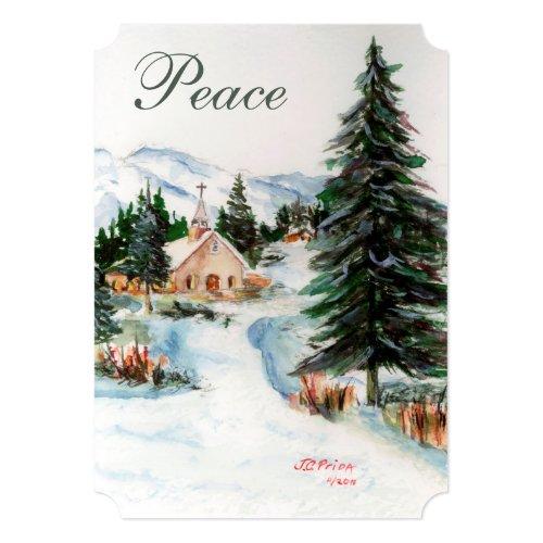 Country Church in Winter Watercolor Mountain Scene 5x7 Paper Invitation Card
