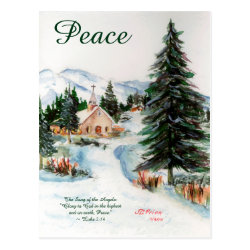 Country Church in Winter Watercolor Mountain Scene Post Card