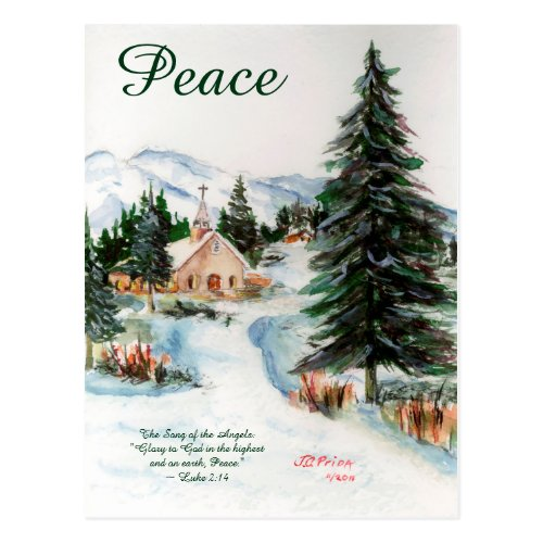 Country Church in Winter Watercolor Mountain Scene Postcard