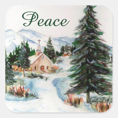 Country Church in Winter Watercolor Mountain Scene Square Sticker