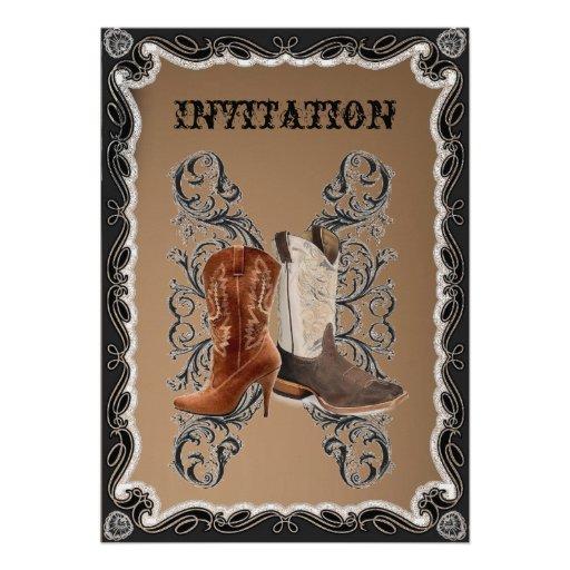 """Western Wedding Invitations: Country Cowboy Boots Western Wedding Invitation 5"""" X 7"""