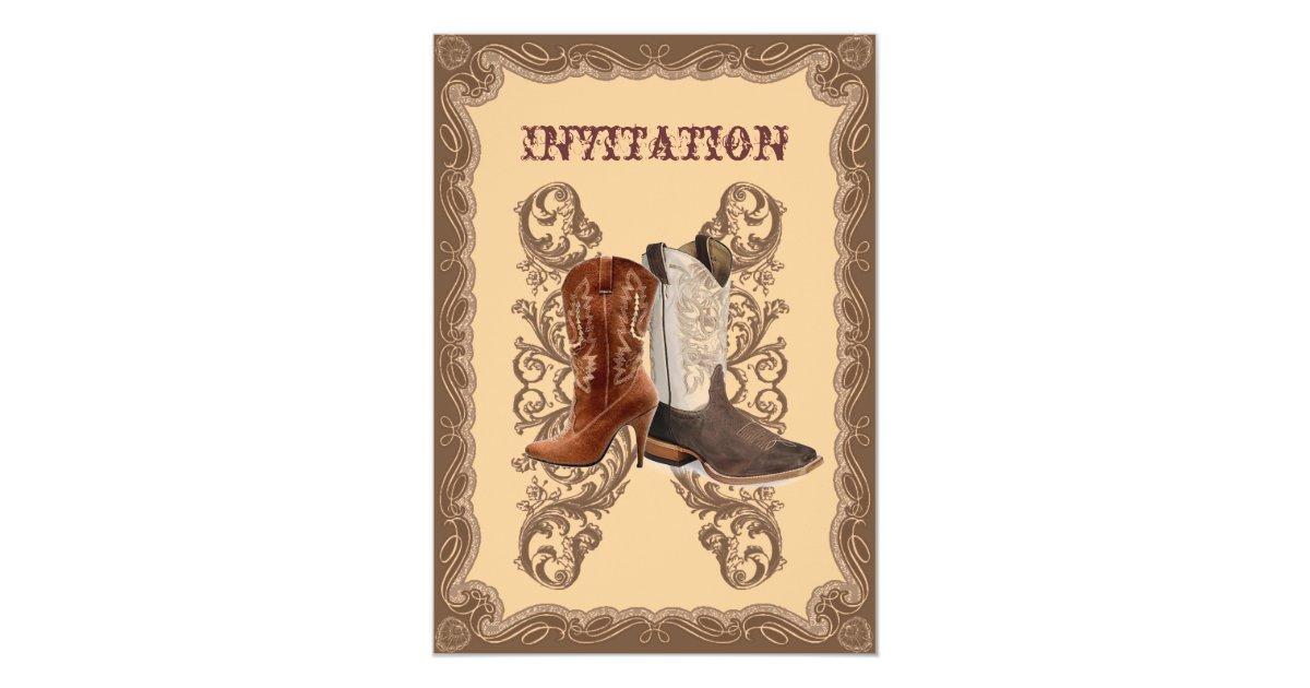 Western Wedding Invites: Country Cowboy Boots Western Wedding Invitation
