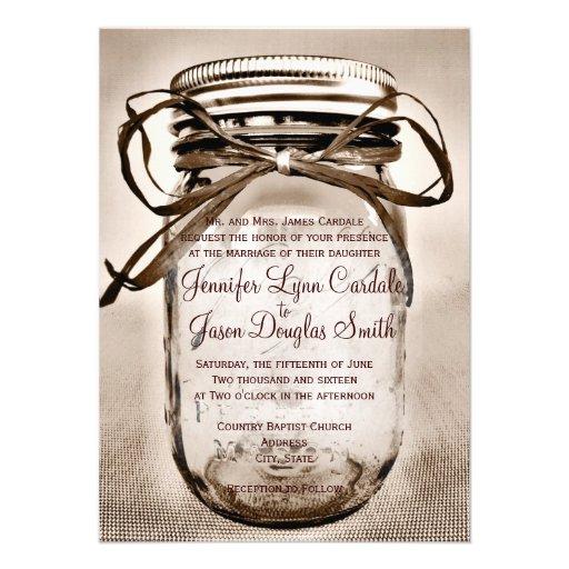 "Wedding Invitations Mason Jar: Country Mason Jar Rustic Wedding Invitations 4.5"" X 6.25"