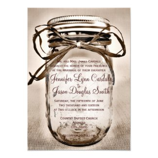 Country Mason Jar Rustic Wedding Invitations 4 5