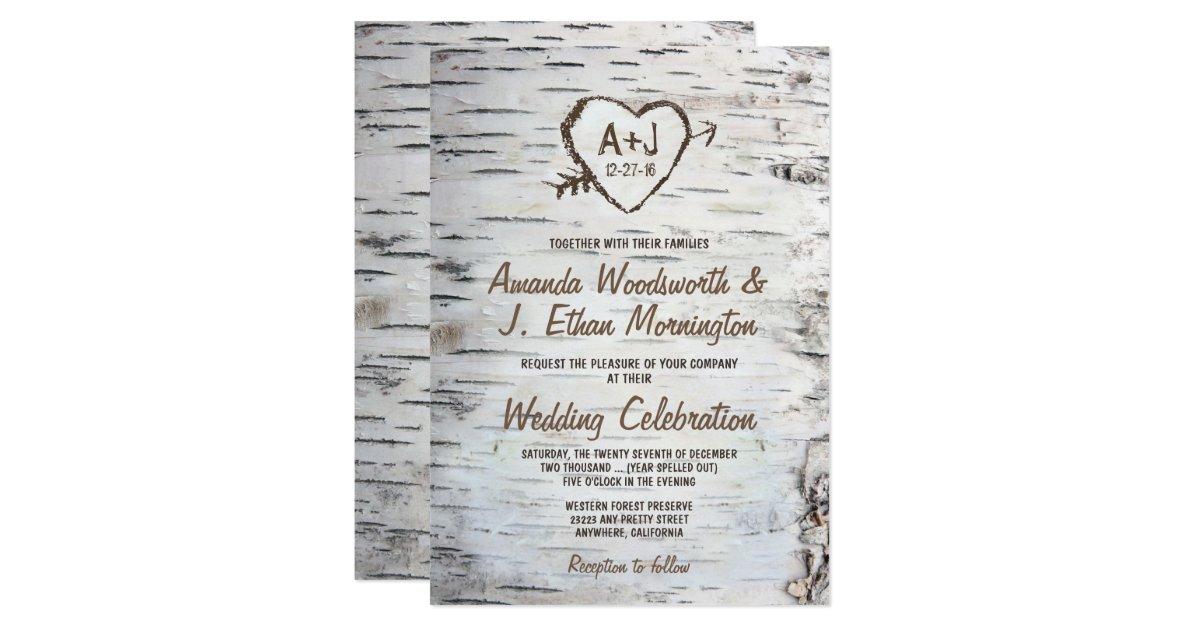 Country Wedding Invitations: Country Rustic Birch Tree Bark Wedding Invitations