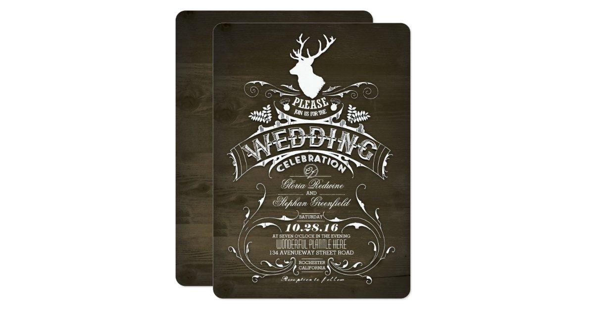 Deer Wedding Invitations: Country Rustic Deer Wedding Invitations