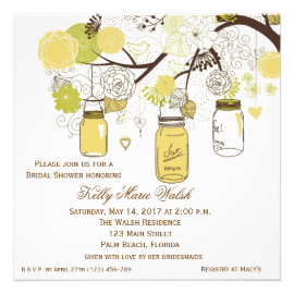 404e33974940 Mason Jar Bridal Shower Invitations - Rustic Country Wedding Invitations
