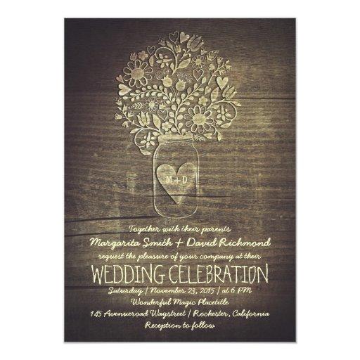 Wedding Invitations Mason Jar: Country Rustic Mason Jar Floral Wedding Invitation