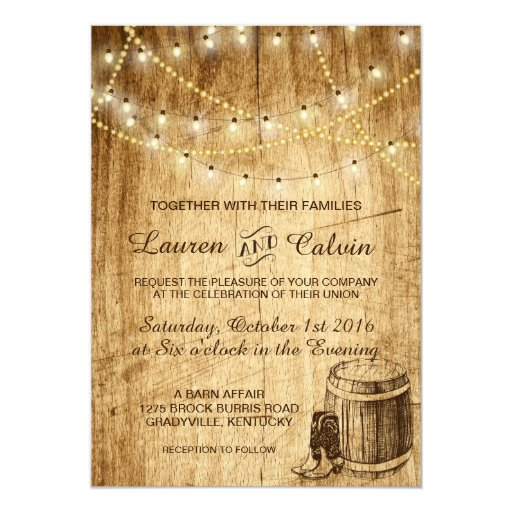Country Wedding Invitations: Country Wedding Invitation With Cowboy Boots