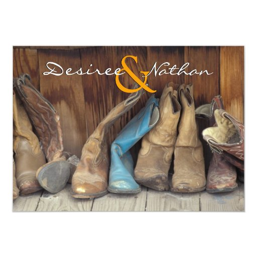 Western Wedding Invitations: Country Western Cowboy Boots Wedding Invitation