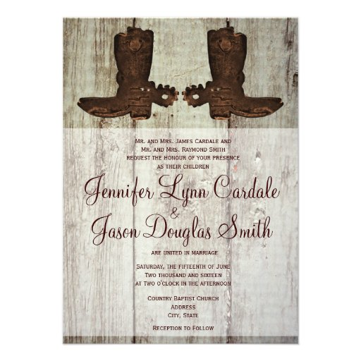 """Country Wedding Invitations: Country Western Cowboy Boots Wedding Invitations 4.5"""" X 6"""