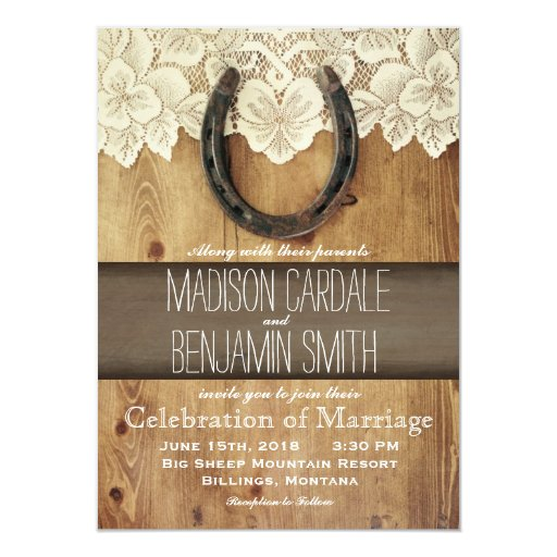 Country Wedding Invitations: Country Western Horseshoe Lace Wedding Invitations