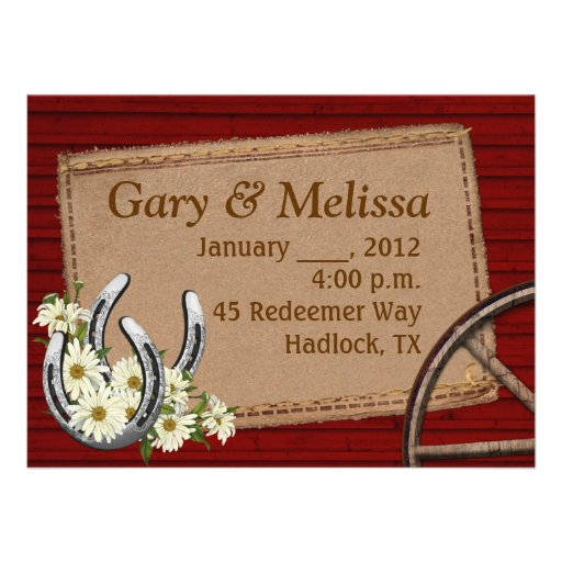 """Country Wedding Invitation Templates: Country Western Wedding Invitation Template 5.5"""" X 7.5"""