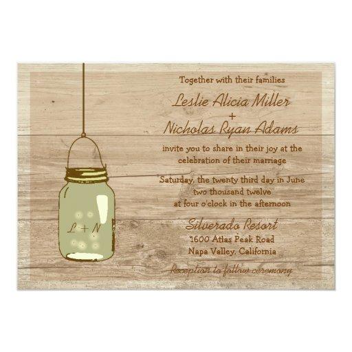 Wedding Invitations Mason Jar: Country Wooden Rustic Mason Jar Wedding Invitation