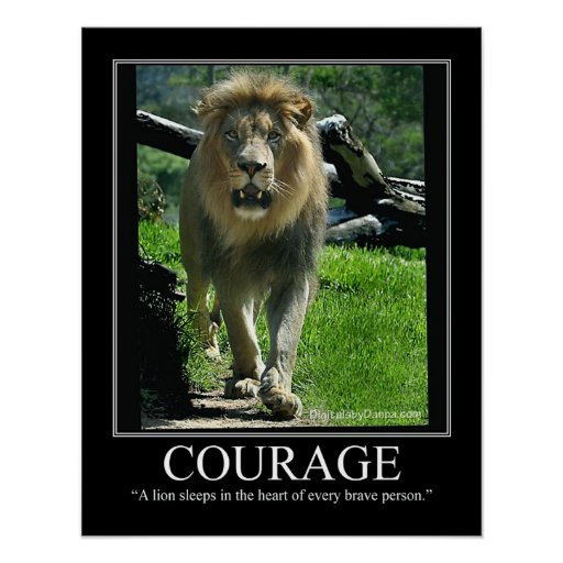 COURAGE Large Gloss Poster - Lion (Motivational)