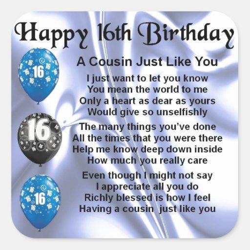 Cousin Poem 16th Birthday - Blue Square Sticker