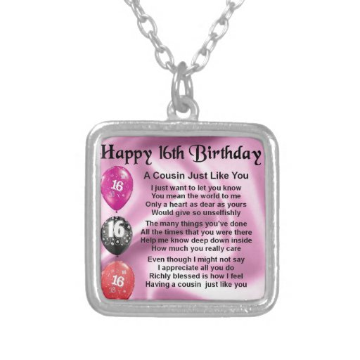 Cousin Poem 16th Birthday - Pink Necklace
