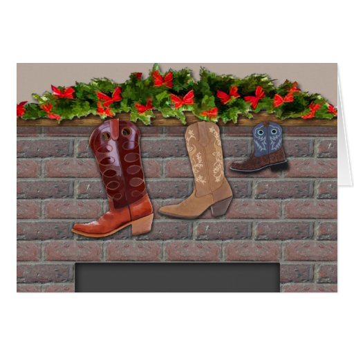 Cowboy Boot Stockings By The Fireplace Card Zazzle