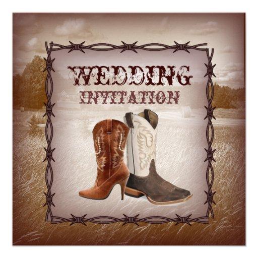 Western Wedding Invitations: Cowboy Boots Western Country Wedding Invitation 5.25