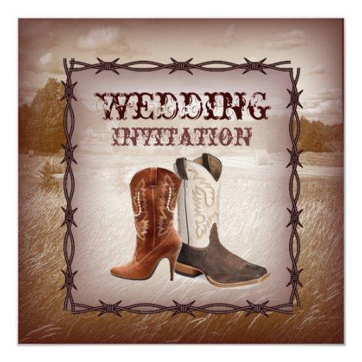 Western Wedding Invitations: Cowboy Boots Western Country Wedding Invitation