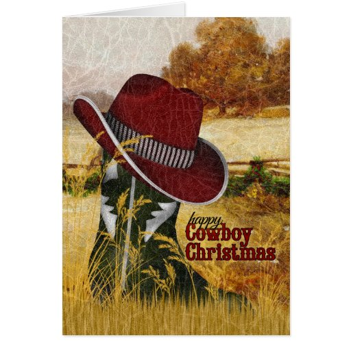 Cowboy Christmas Country Western Boot And Hat Card Zazzle