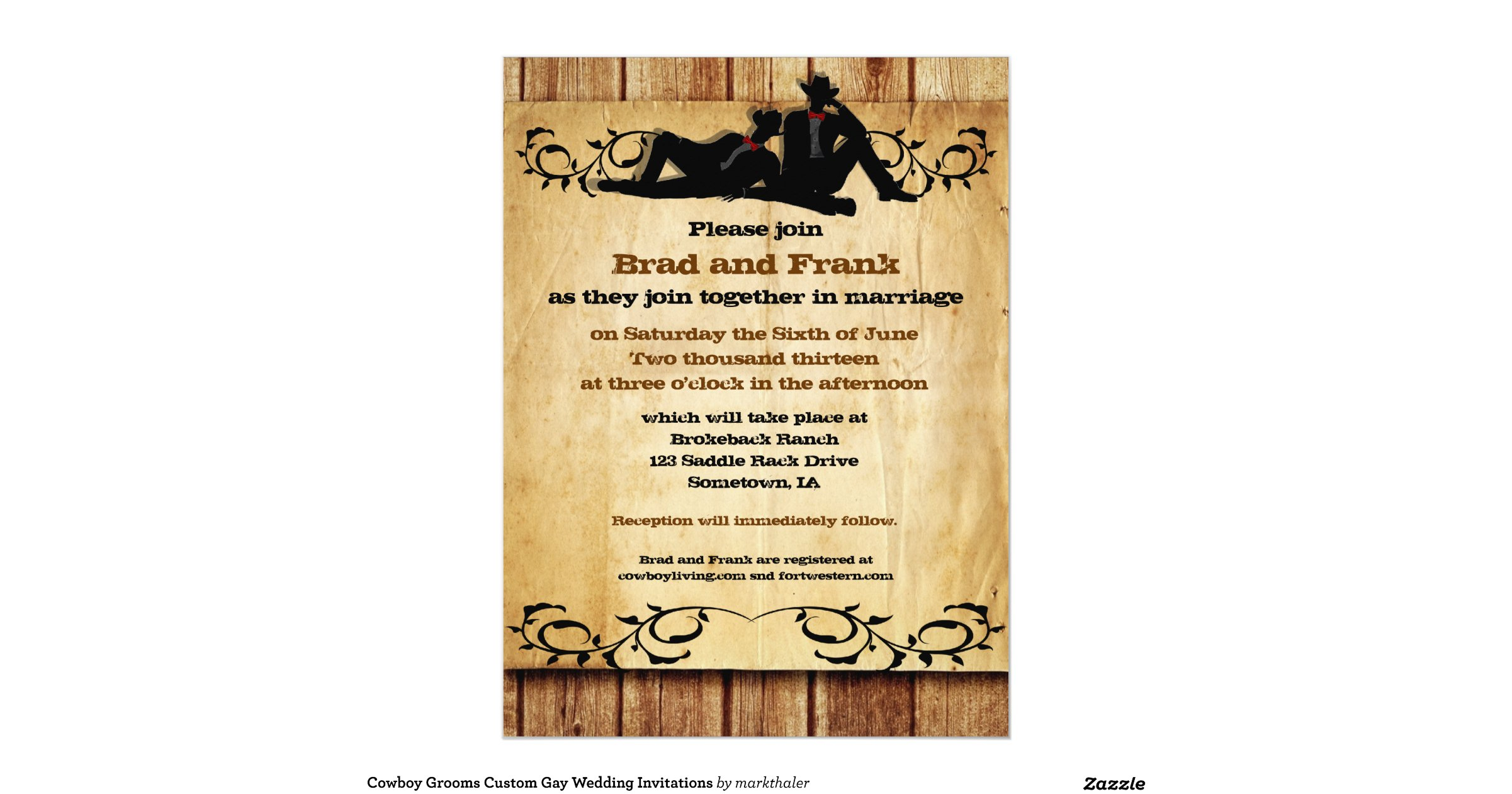 Gay Marriage Wedding Invitations: Cowboy_grooms_custom_gay_wedding_invitations