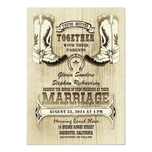 Western Wedding Invitations: Cowboy Shoes Western Wedding Invitations