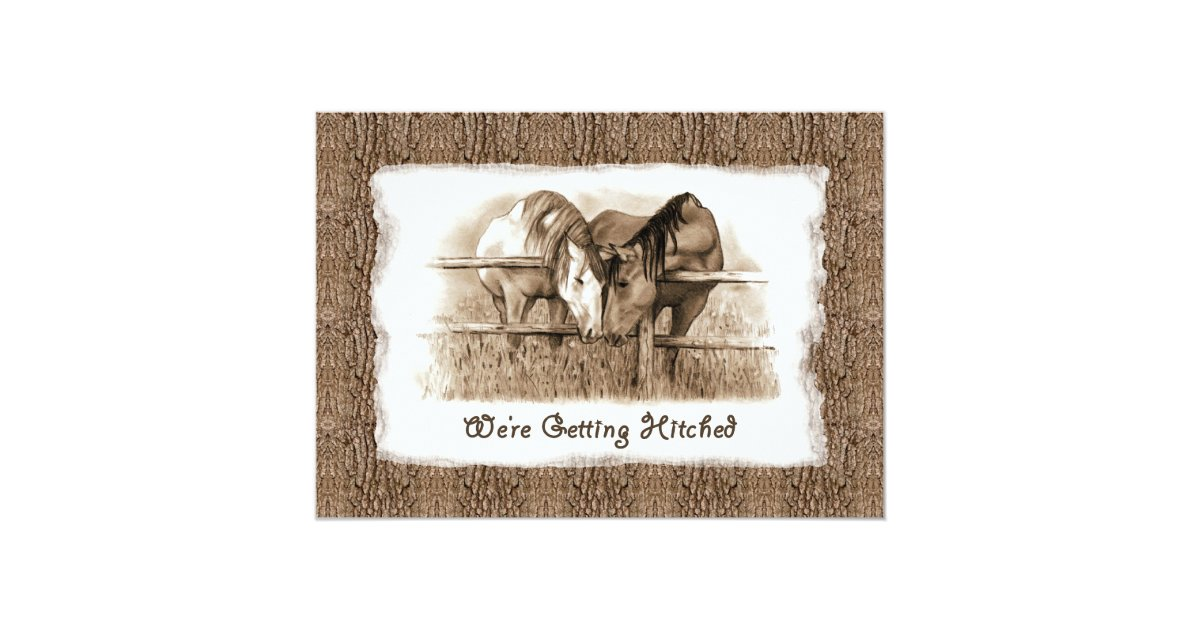 Hitched Wedding Invitations: Cowboy Wedding Invitation: Getting Hitched: Horses Card