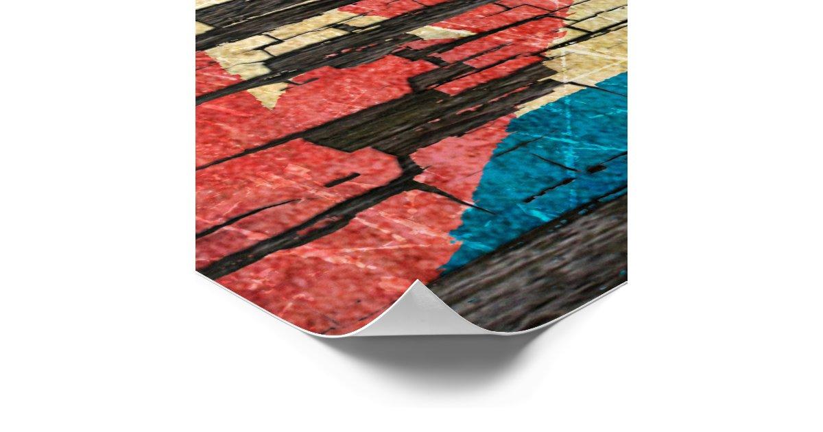 Cracked Cuban Flag Peeling Paint Effect Poster | Zazzle